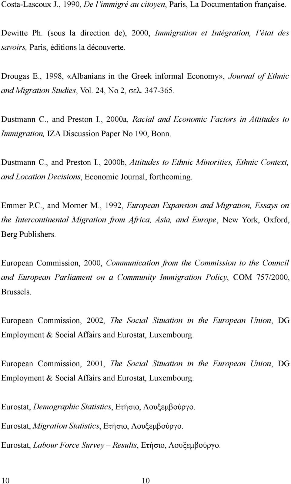 , 1998, «Albanians in the Greek informal Economy», Journal of Ethnic and Migration Studies, Vol. 24, No 2, σελ. 347-365. Dustmann C., and Preston I.