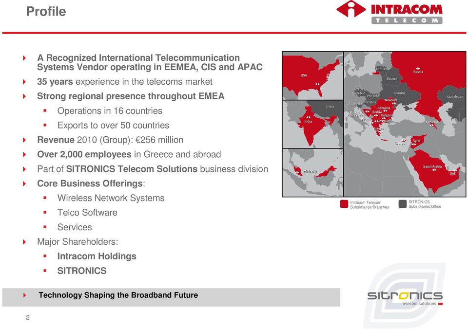 Greece and abroad Part of SITRONICS Telecom Solutions business division Core Business Offerings: Wireless Network Systems Telco Software Services