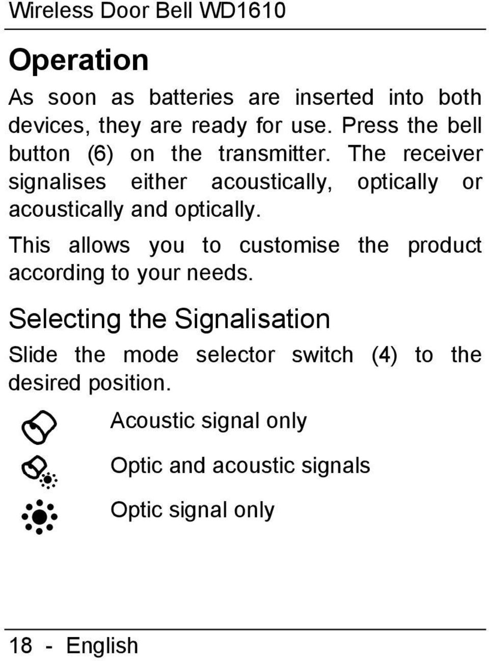 The receiver signalises either acoustically, optically or acoustically and optically.