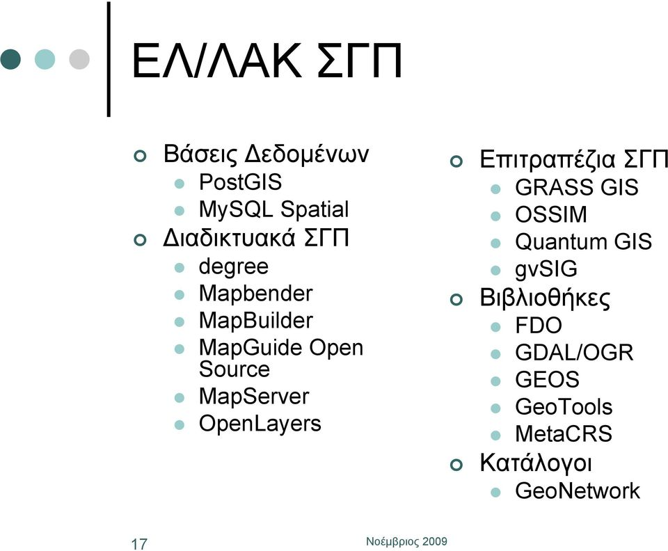 OpenLayers Επιτραπέζια ΣΓΠ GRASS GIS OSSIM Quantum GIS gvsig