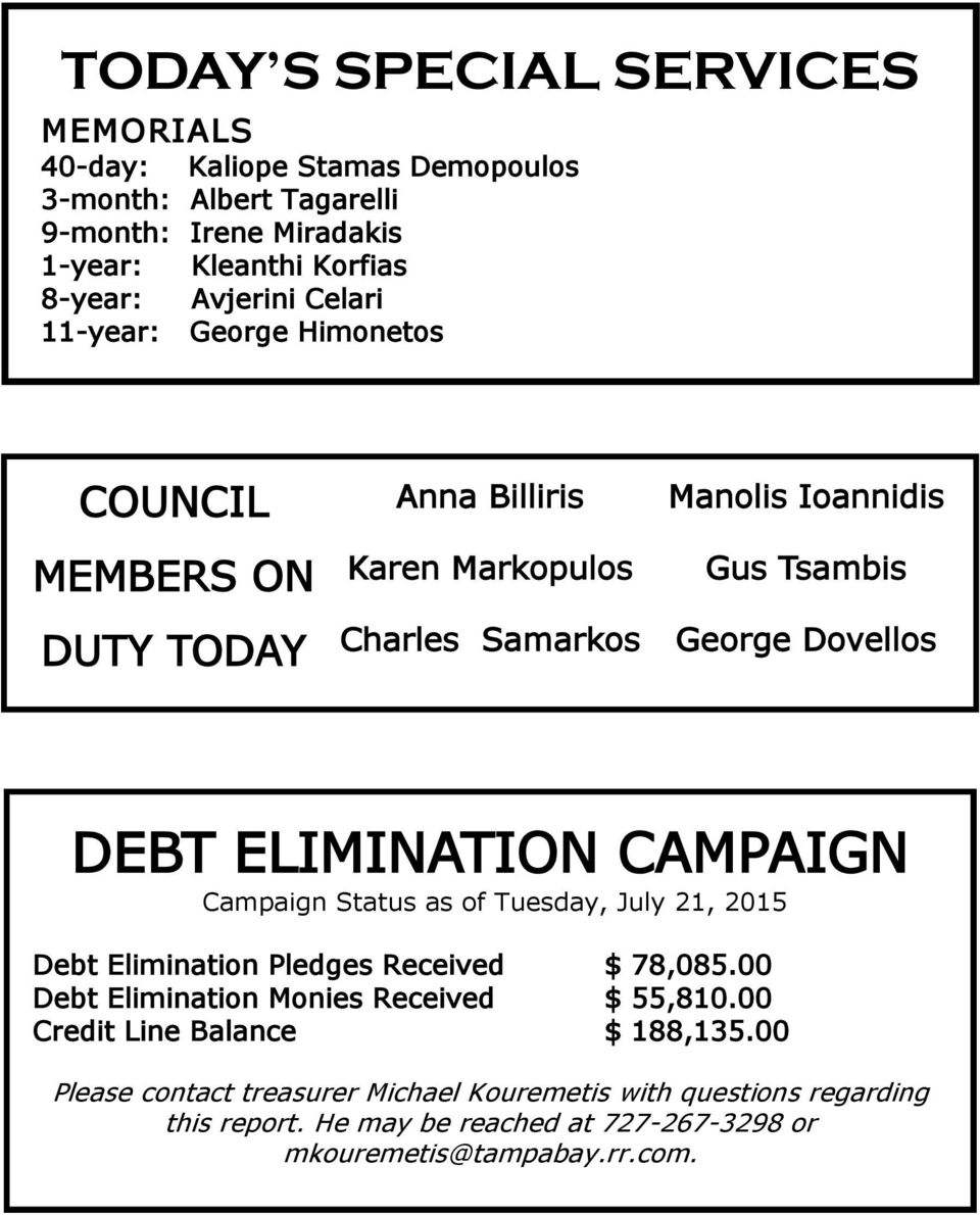 ELIMINATION CAMPAIGN Campaign Status as of Tuesday, July 21, 2015 Debt Elimination Pledges Received $ 78,085.00 Debt Elimination Monies Received $ 55,810.