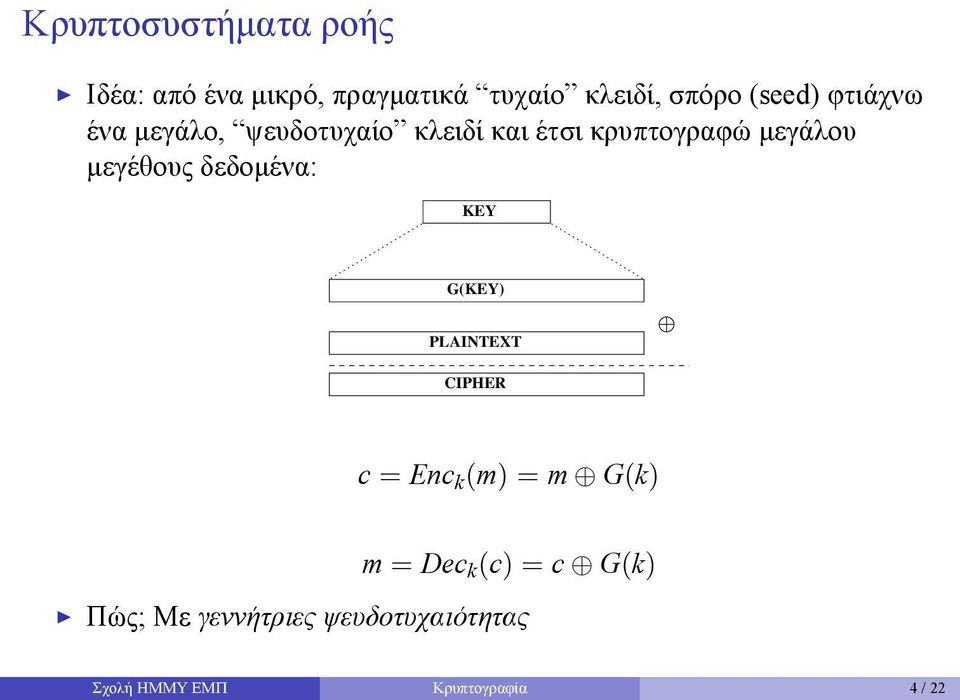 μεγέθους δεδομένα: KEY G(KEY) PLAINTEXT CIPHER c = Enc k (m) = m G(k) m = Dec