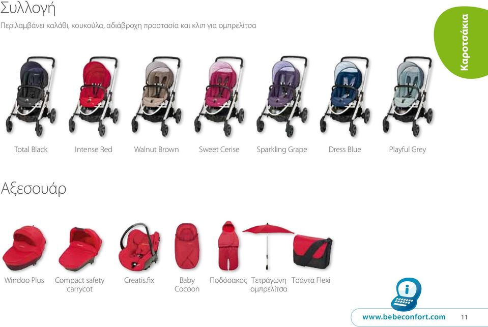 Dress Blue Playful Grey Αξεσουάρ Windoo Plus Compact safety carrycot Creatis.
