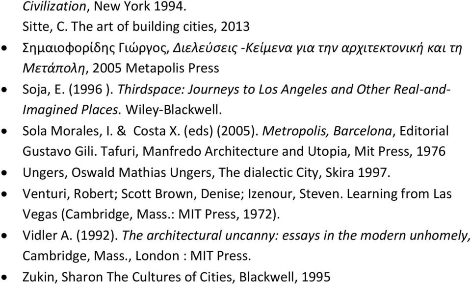 Tafuri, Manfredo Architecture and Utopia, Mit Press, 1976 Ungers, Oswald Mathias Ungers, The dialectic City, Skira 1997. Venturi, Robert; Scott Brown, Denise; Izenour, Steven.