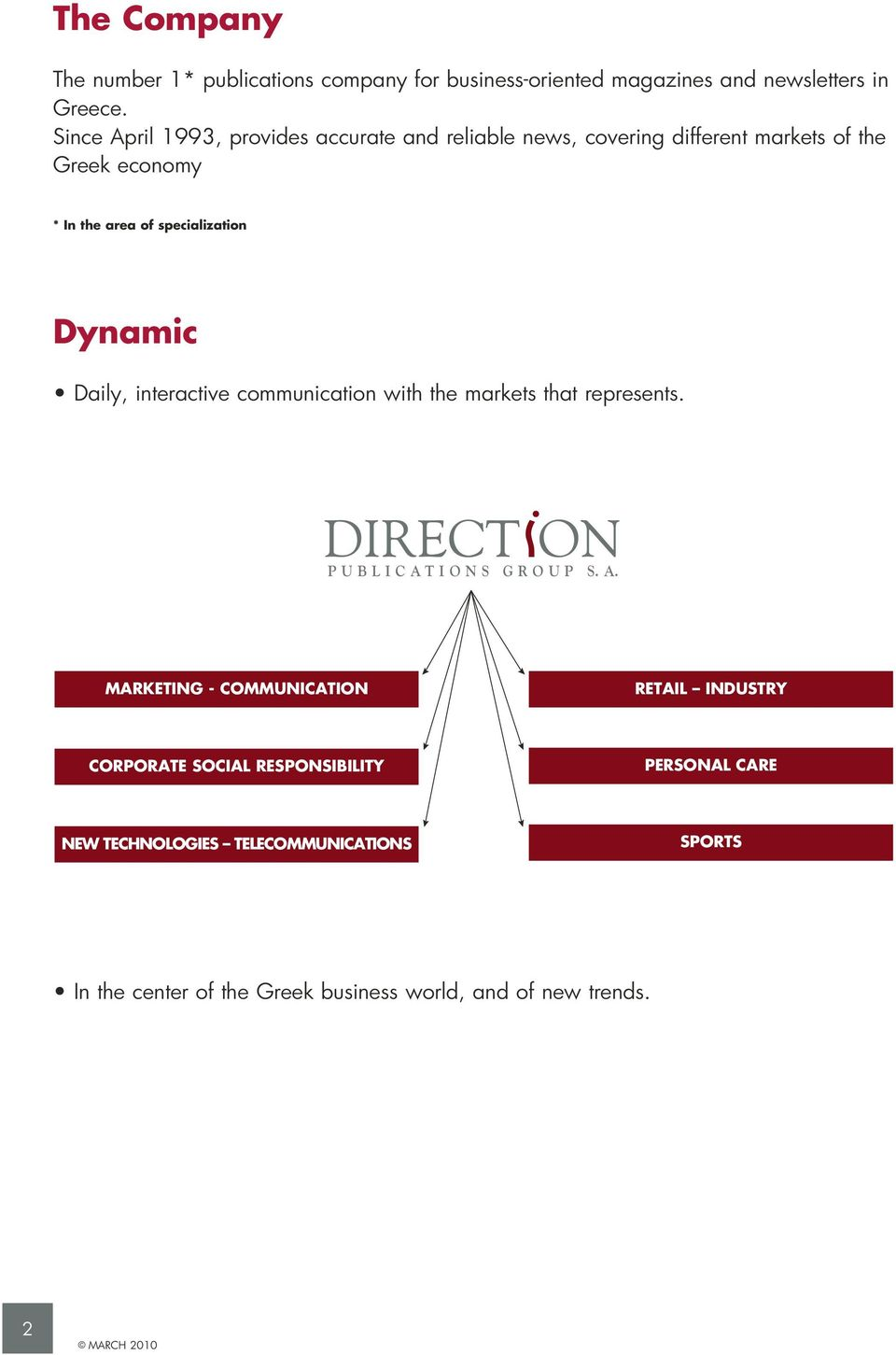 specialization Dynamic Daily, interactive communication with the markets that represents. PUBLICAT