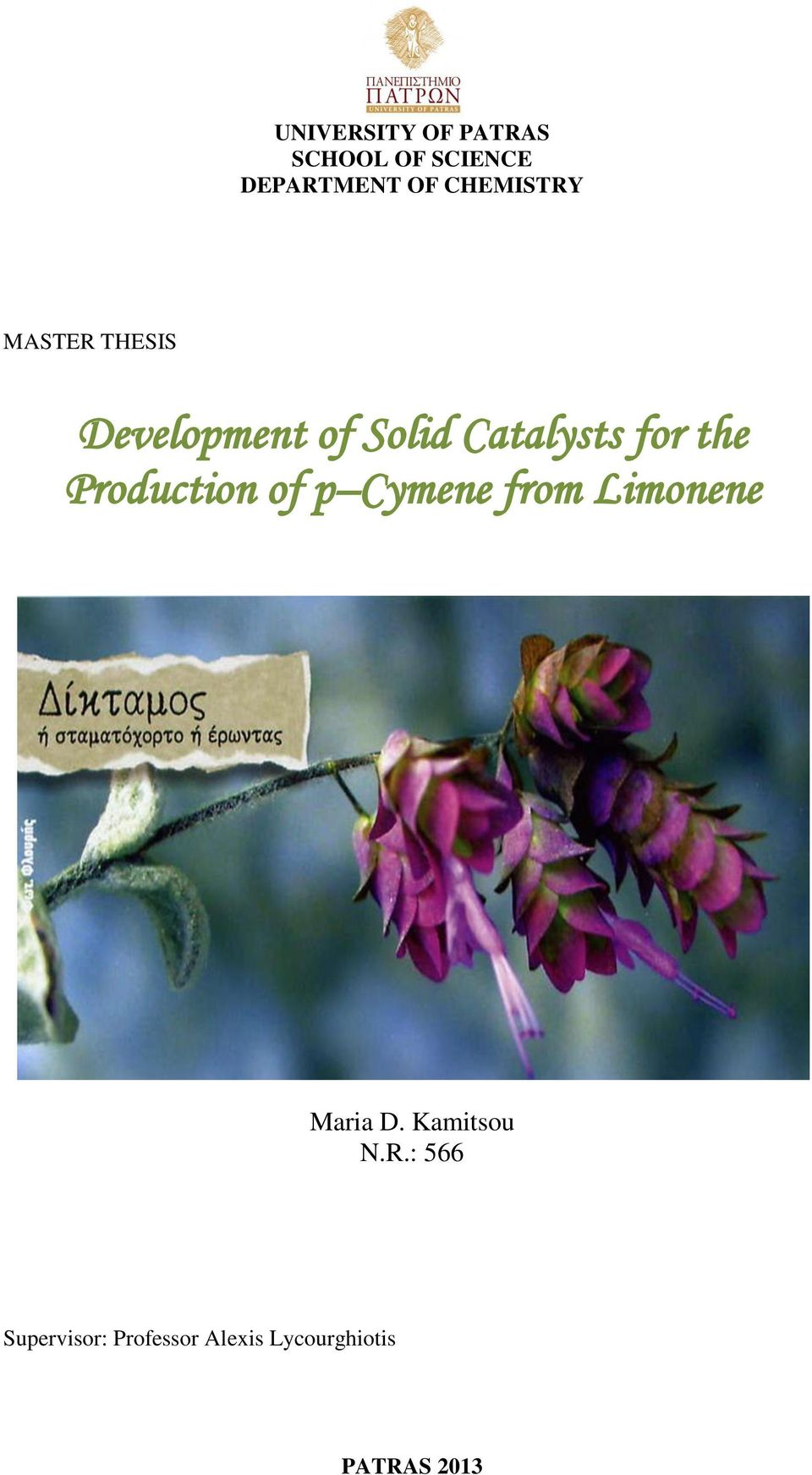 the Production of p Cymene from Limonene Maria D.