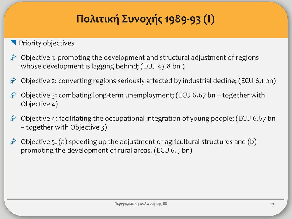 1 bn) Objective 3: combating long-term unemployment; (ECU 6.