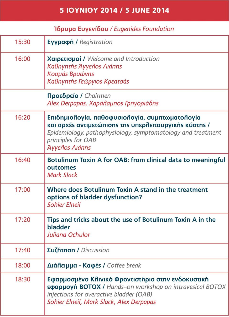 symptomatology and treatment principles for OAB 16:40 Botulinum Toxin A for OAB: from clinical data to meaningful outcomes Mark Slack 17:00 Where does Botulinum Toxin A stand in the treatment options