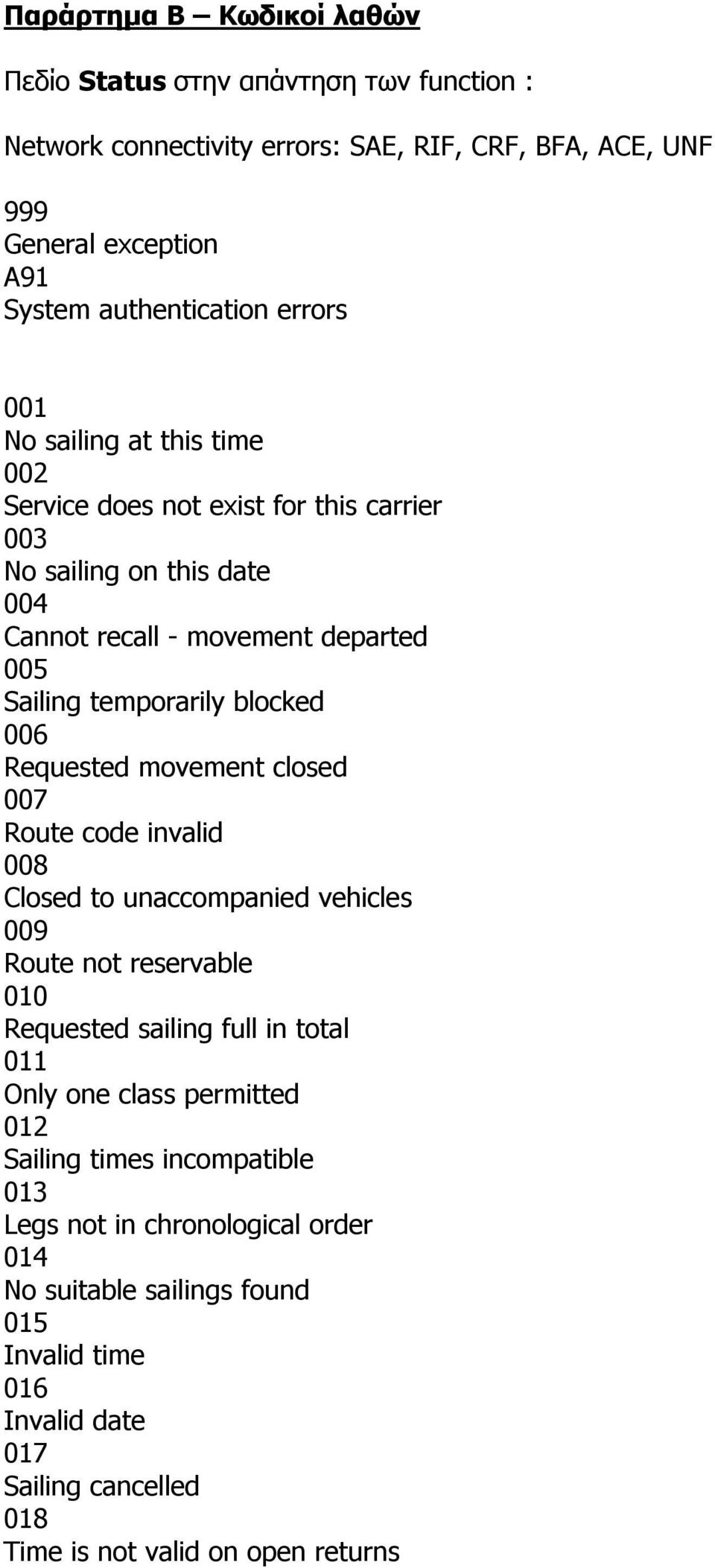 Requested movement closed 007 Route code invalid 008 Closed to unaccompanied vehicles 009 Route not reservable 010 Requested sailing full in total 011 Only one class permitted 012