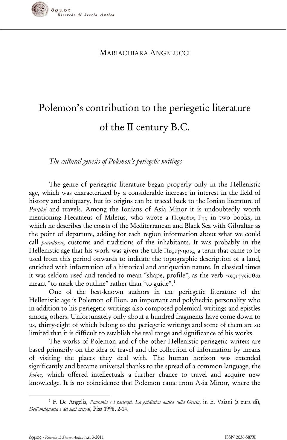 I Polemon s contribution to the periegetic literature of the II century B.C.
