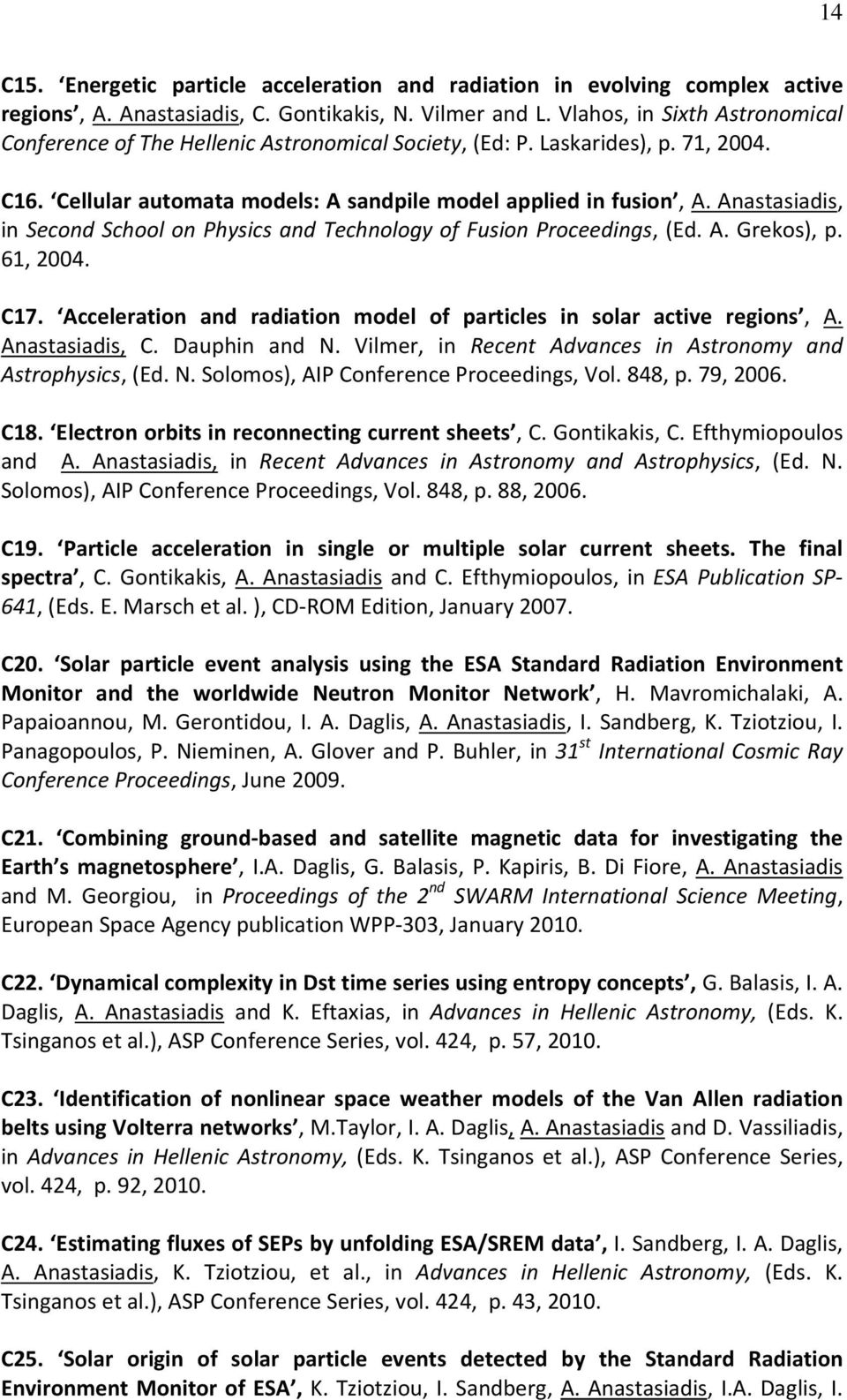 Anastasiadis, in Second School on Physics and Technology of Fusion Proceedings, (Ed. A. Grekos), p. 61, 2004. C17. Acceleration and radiation model of particles in solar active regions, A.