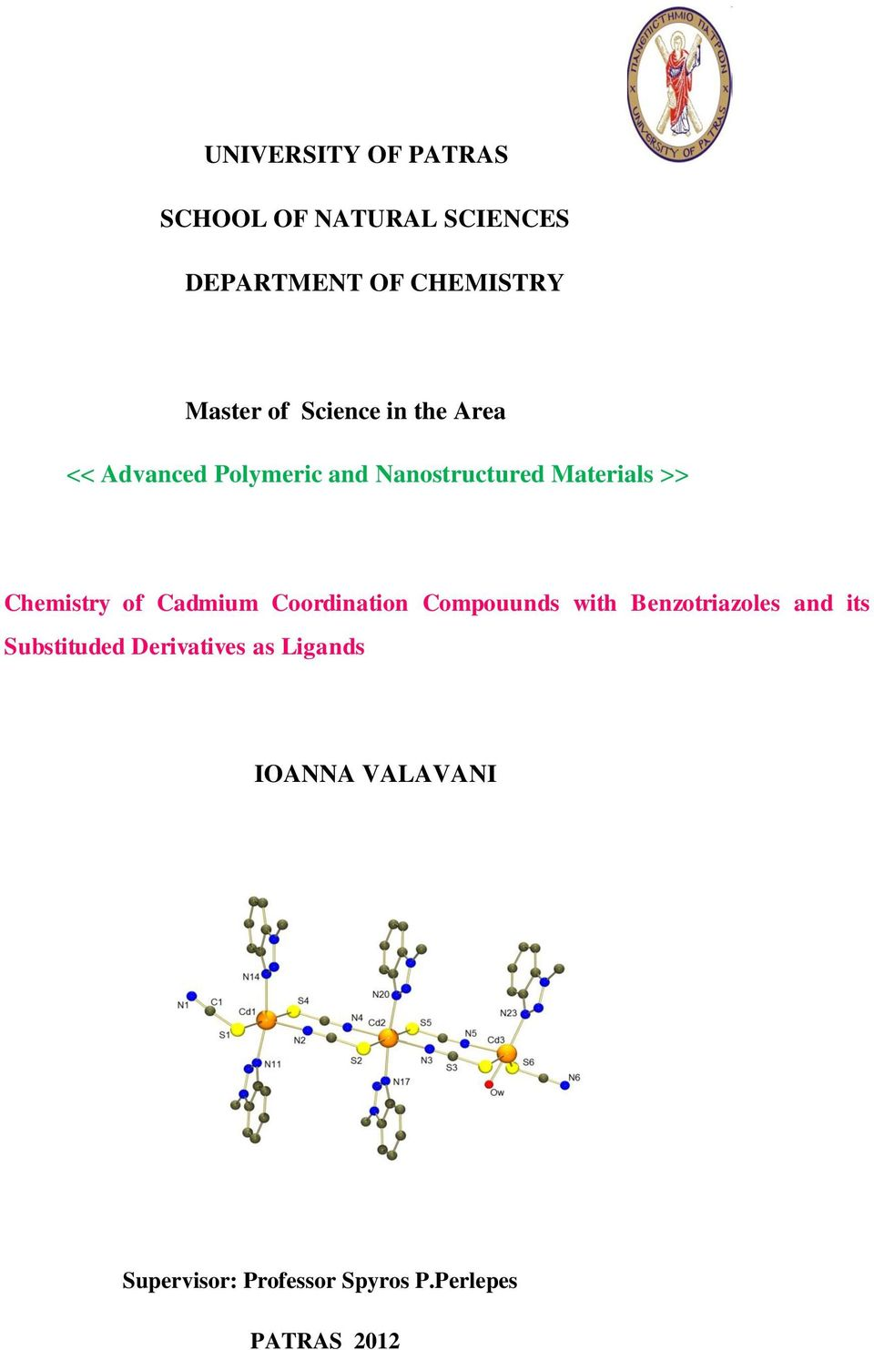 Chemistry of Cadmium Coordination Compouunds with Benzotriazoles and its