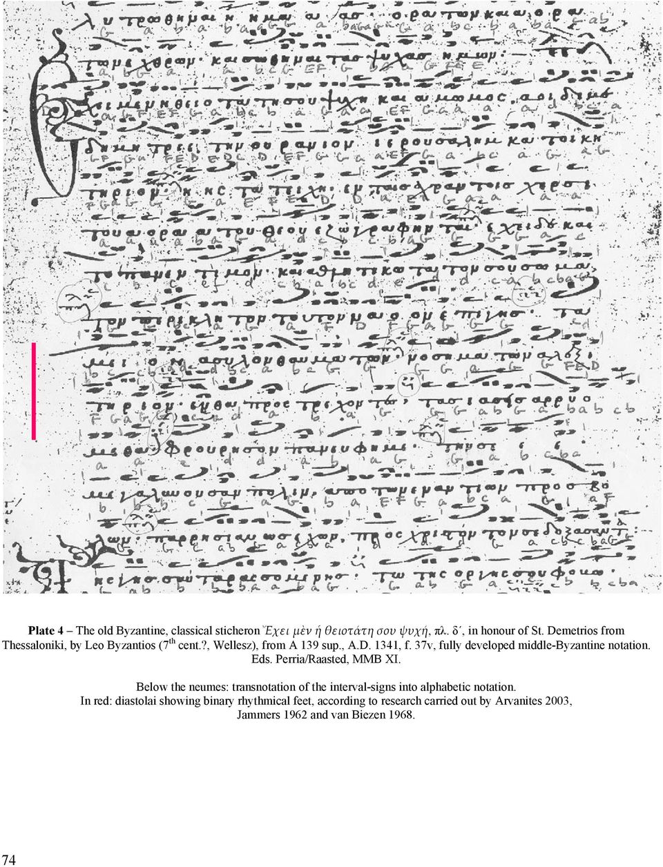 37v, fully developed middle-byzantine notation. Eds. Perria/Raasted, MMB XI.