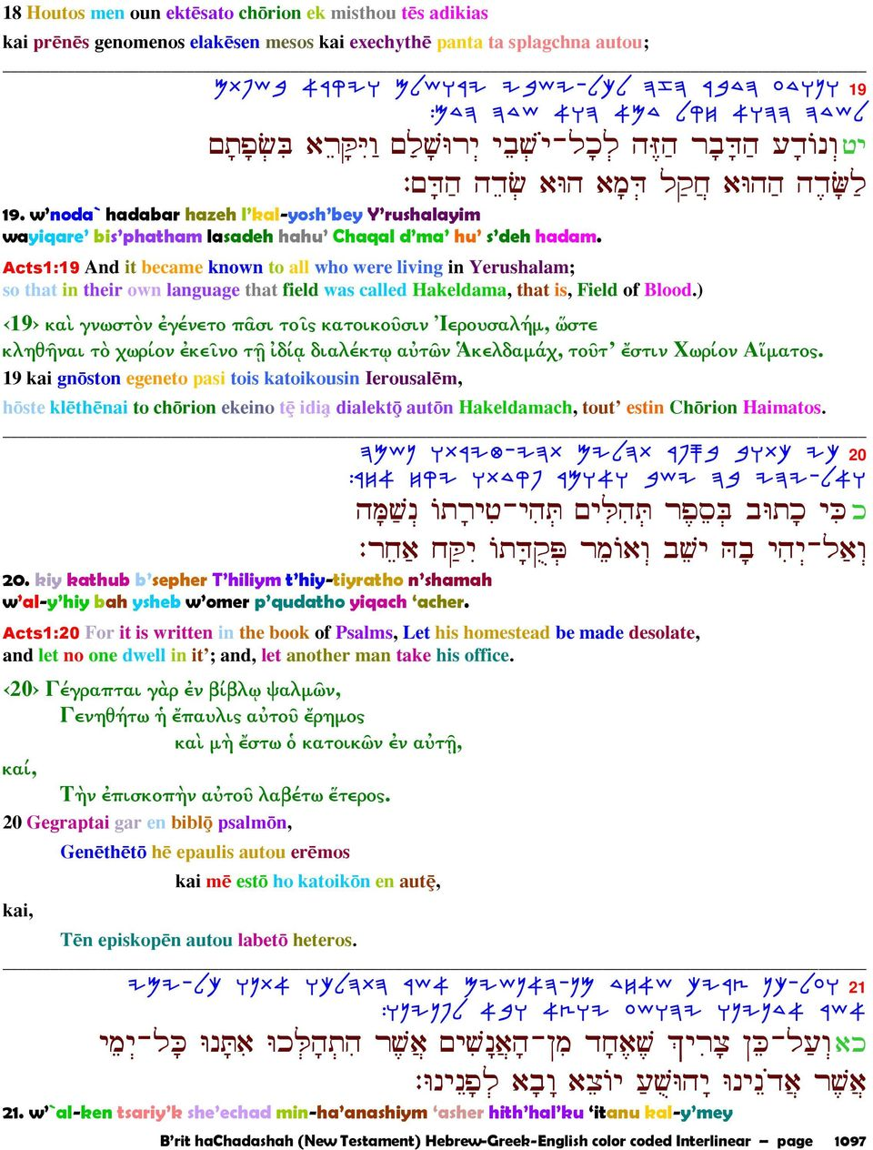 Acts1:19 And it became known to all who were living in Yerushalam; so that in their own language that field was called Hakeldama, that is, Field of Blood.