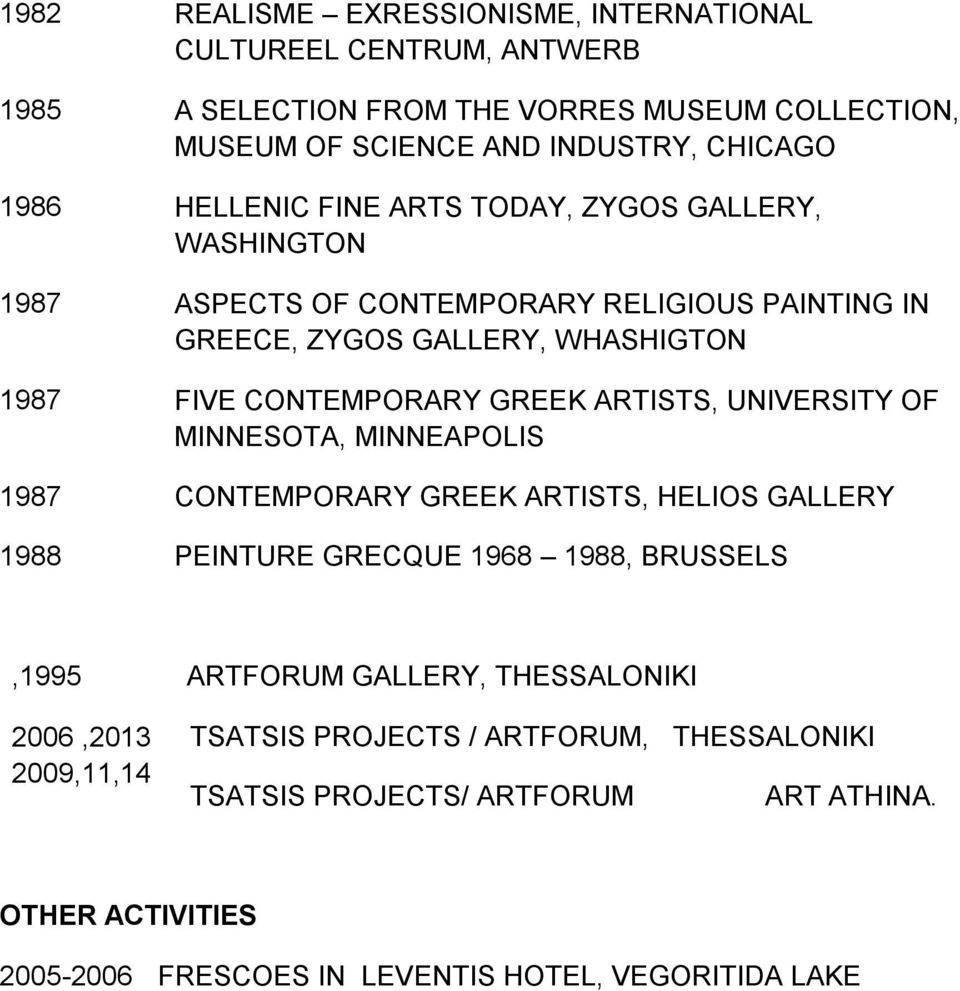 ARTISTS, UNIVERSITY OF MINNESOTA, MINNEAPOLIS 1987 CONTEMPORARY GREEK ARTISTS, HELIOS GALLERY 1988 PEINTURE GRECQUE 1968 1988, BRUSSELS,1995 ARTFORUM GALLERY,