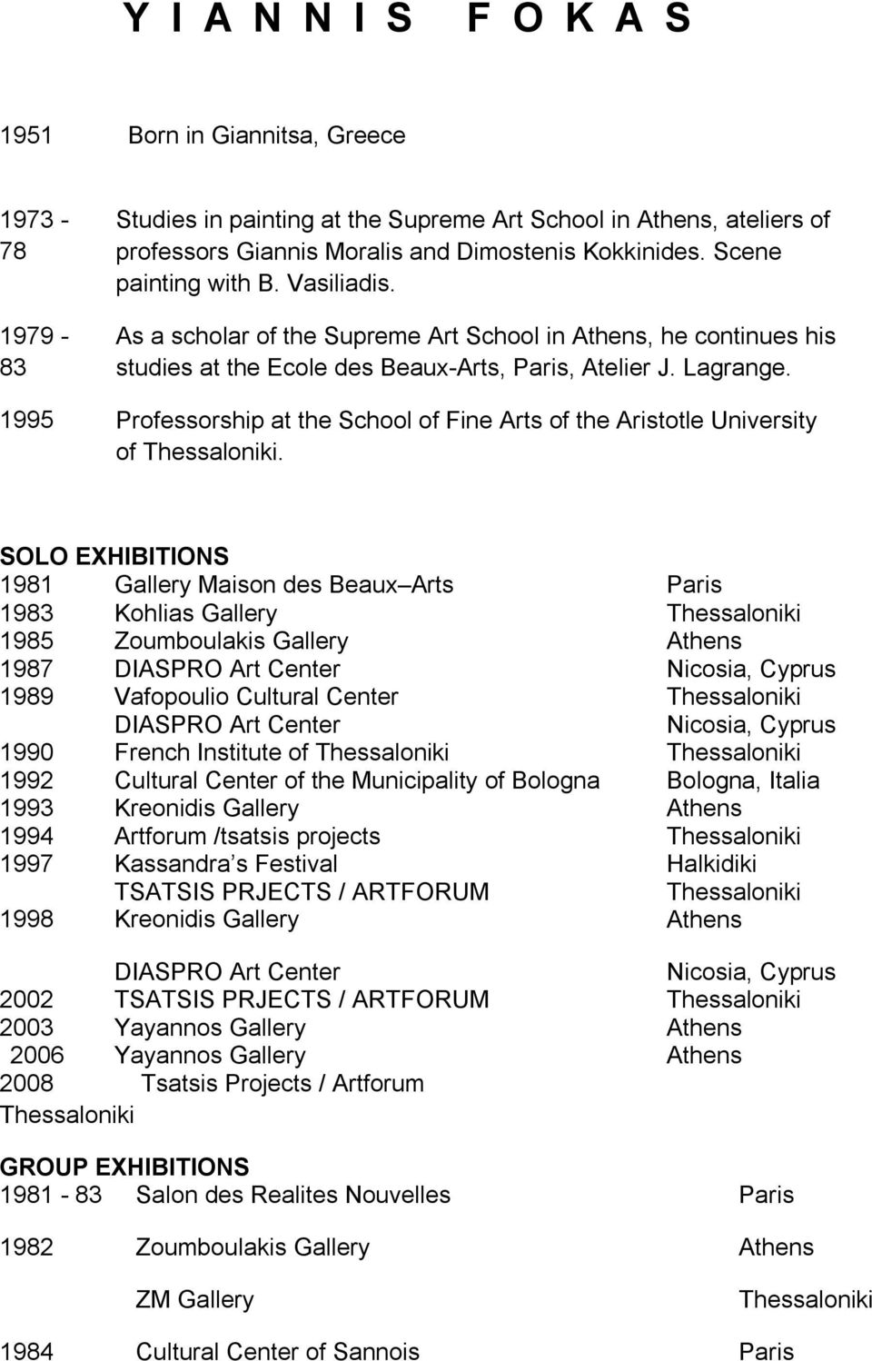 1995 Professorship at the School of Fine Arts of the Aristotle University of Thessaloniki.