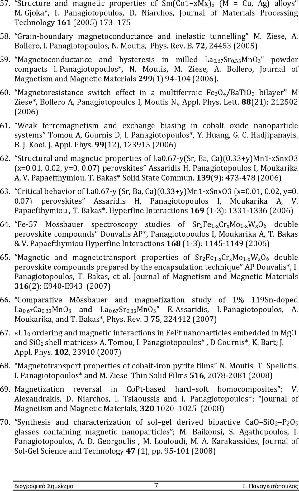 67Sr0.33MnO3 powder compacts I. Panagiotopoulos*, N. Moutis, M. Ziese, A. Bollero, Journal of Magnetism and Magnetic Materials 299(1) 94-104 (2006). 60.