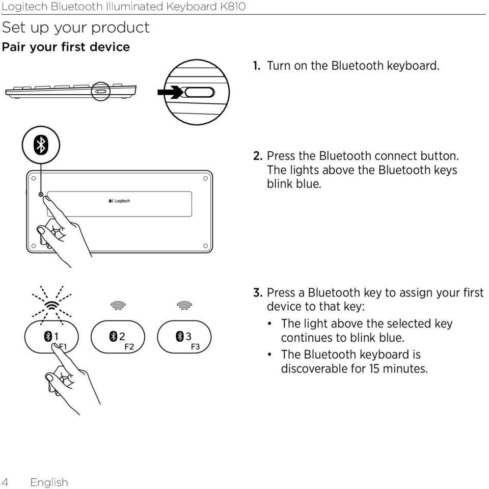 Press a Bluetooth key to assign your first device to that key: The light above the