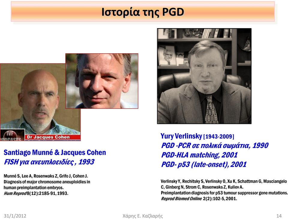 Yury Verlinsky [1943-2009] PGD -PCR σε πολικά σωμάτια, 1990 PGD-HLA matching, 2001 PGD- p53 (late-onset), 2001 Verlinsky Y, Rechitsky S, Verlinsky