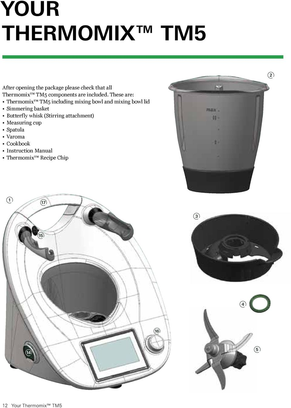 These are: Thermomix TM5 including mixing bowl and mixing bowl lid Simmering basket