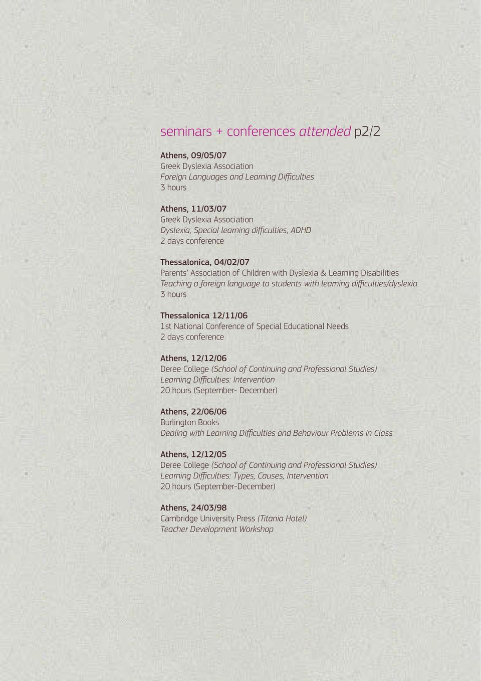 difficulties/dyslexia 3 hours Thessalonica 12/11/06 1st National Conference of Special Educational Needs 2 days conference Athens, 12/12/06 Deree College (School of Continuing and Professional