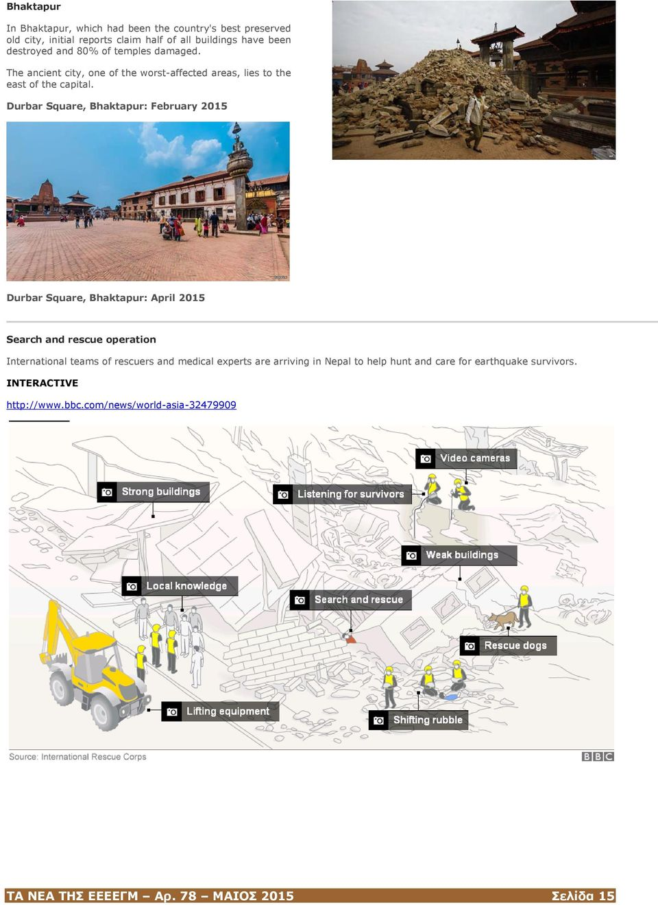 Durbar Square, Bhaktapur: February 2015 Durbar Square, Bhaktapur: April 2015 Search and rescue operation International teams of rescuers and