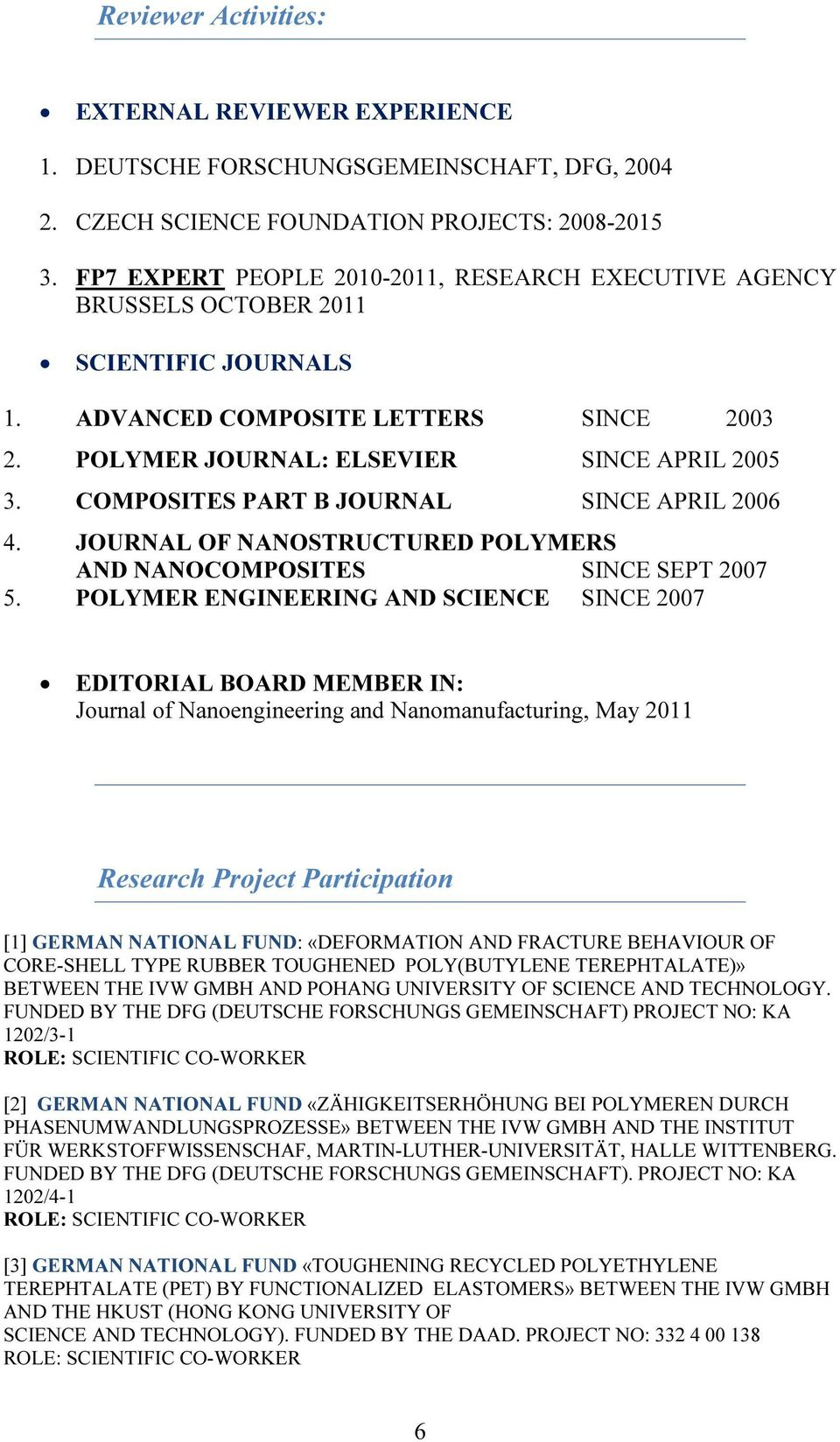 COMPOSITES PART B JOURNAL SINCE APRIL 2006 4. JOURNAL OF NANOSTRUCTURED POLYMERS AND NANOCOMPOSITES SINCE SEPT 2007 5.