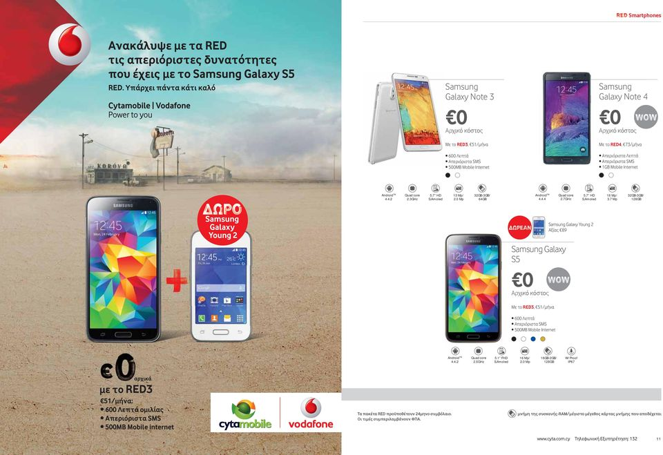 7 Mp -3GB/ Samsung Galaxy Young 2 Αξίας 89 Samsung Galaxy S5 Με το RED3, 51/μήνα 2.5GHz 5.1 FHD S.