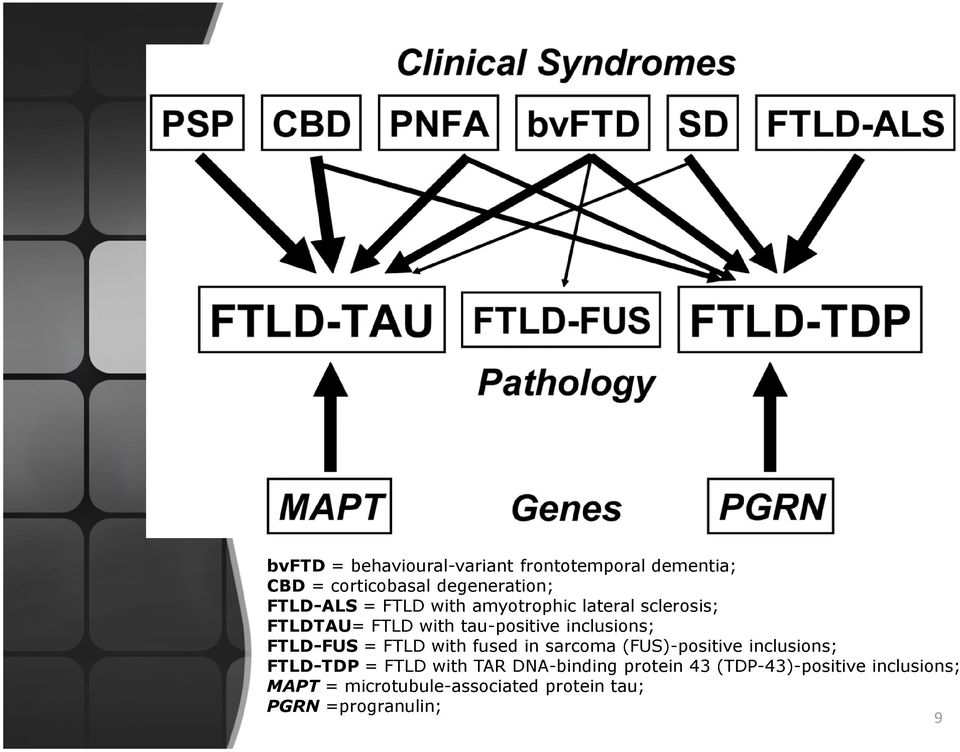 FTLD with fused in sarcoma (FUS)-positive inclusions; FTLD-TDP = FTLD with TAR DNA-binding
