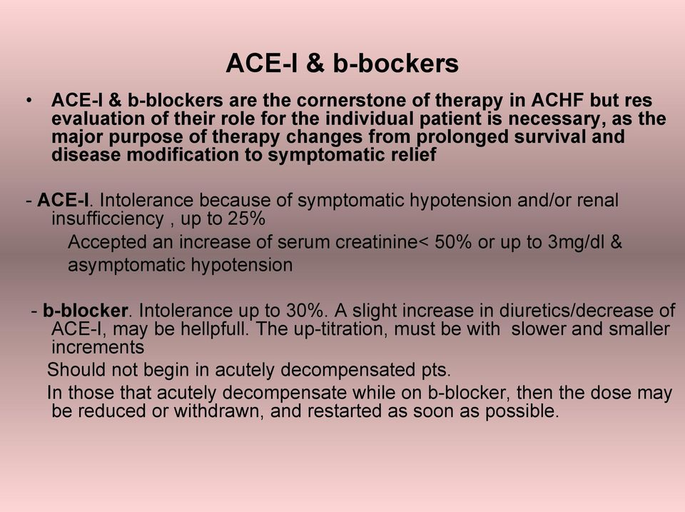 Intolerance because of symptomatic hypotension and/or renal insufficciency, up to 25% Accepted an increase of serum creatinine< 50% οr up to 3mg/dl & asymptomatic hypotension - b-blocker.