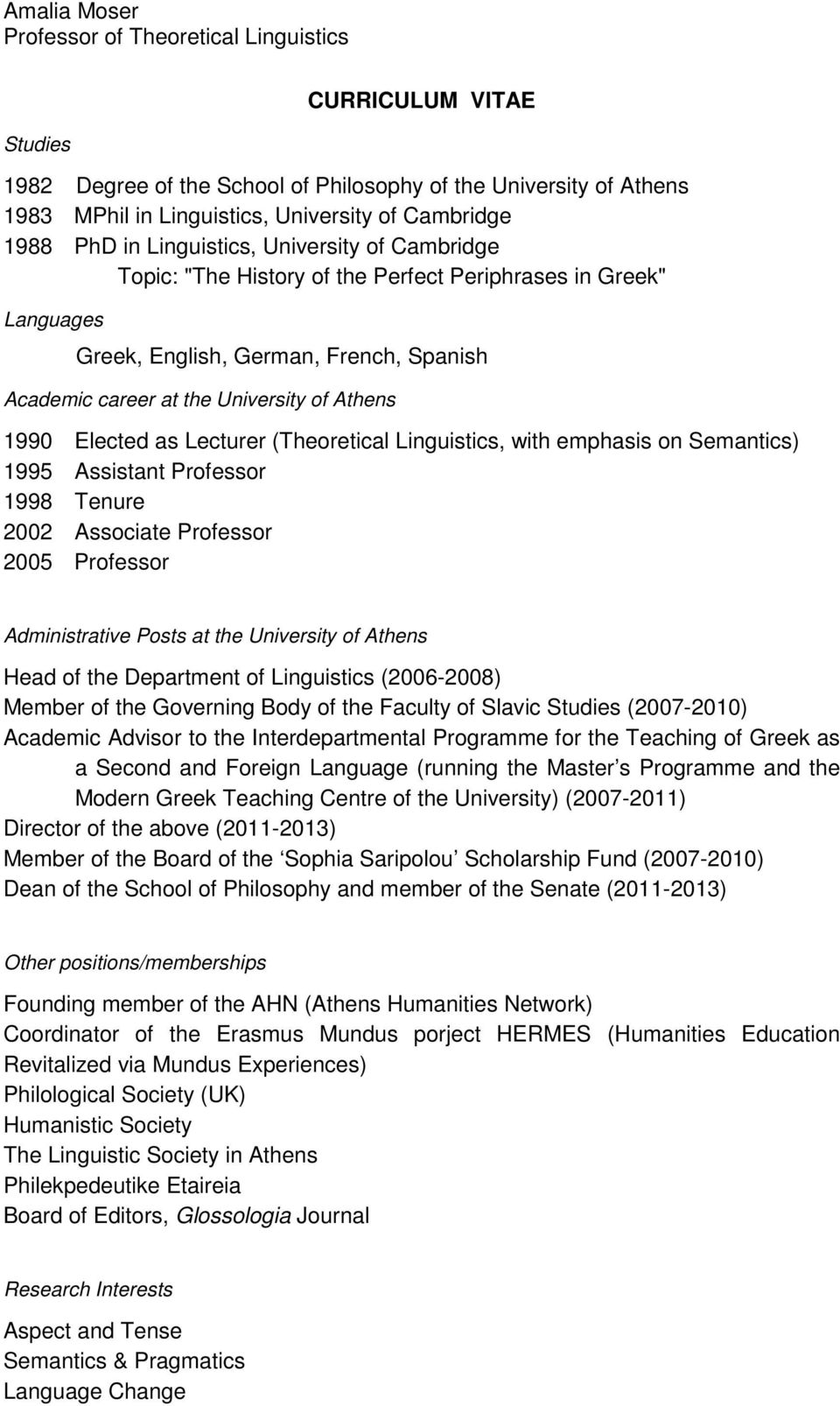 Elected as Lecturer (Theoretical Linguistics, with emphasis on Semantics) 1995 Assistant Professor 1998 Tenure 2002 Associate Professor 2005 Professor Administrative Posts at the University of Athens