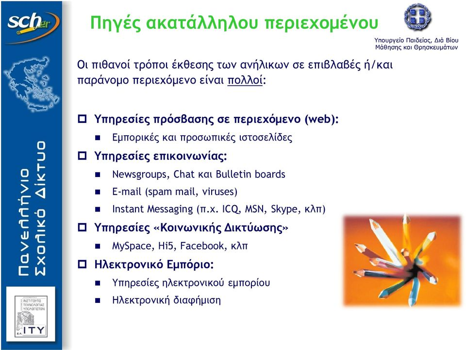 Newsgroups, Chat και Bulletin boards E-mail (spam mail, viruses) Instant Messaging (π.χ.