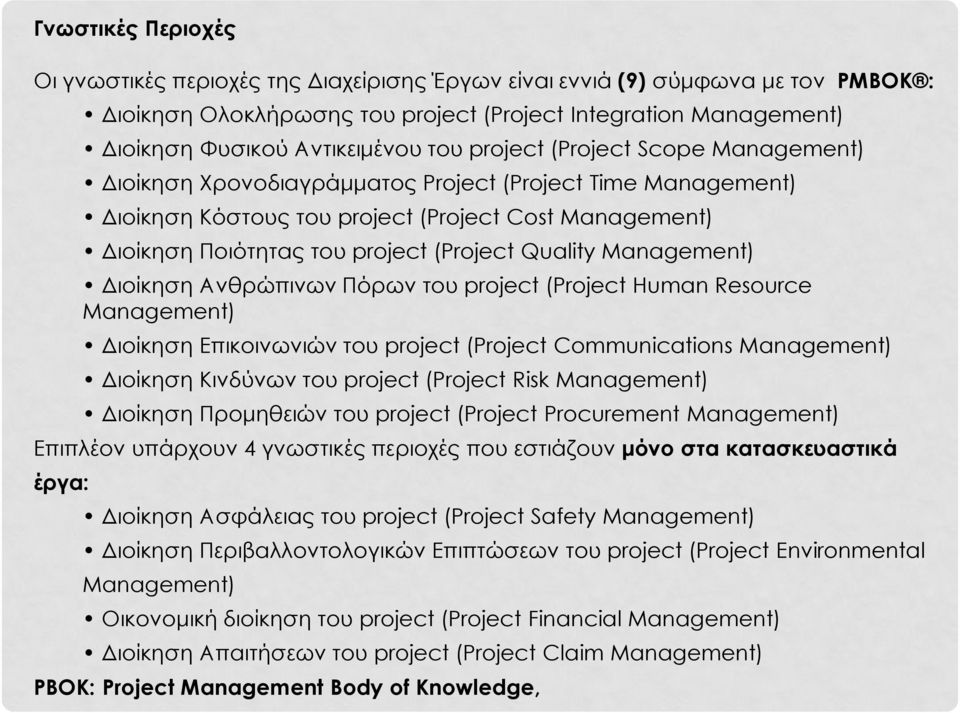 Quality Management) Διοίκηση Ανθρώπινων Πόρων του project (Project Human Resource Management) Διοίκηση Επικοινωνιών του project (Project Communications Management) Διοίκηση Κινδύνων του project