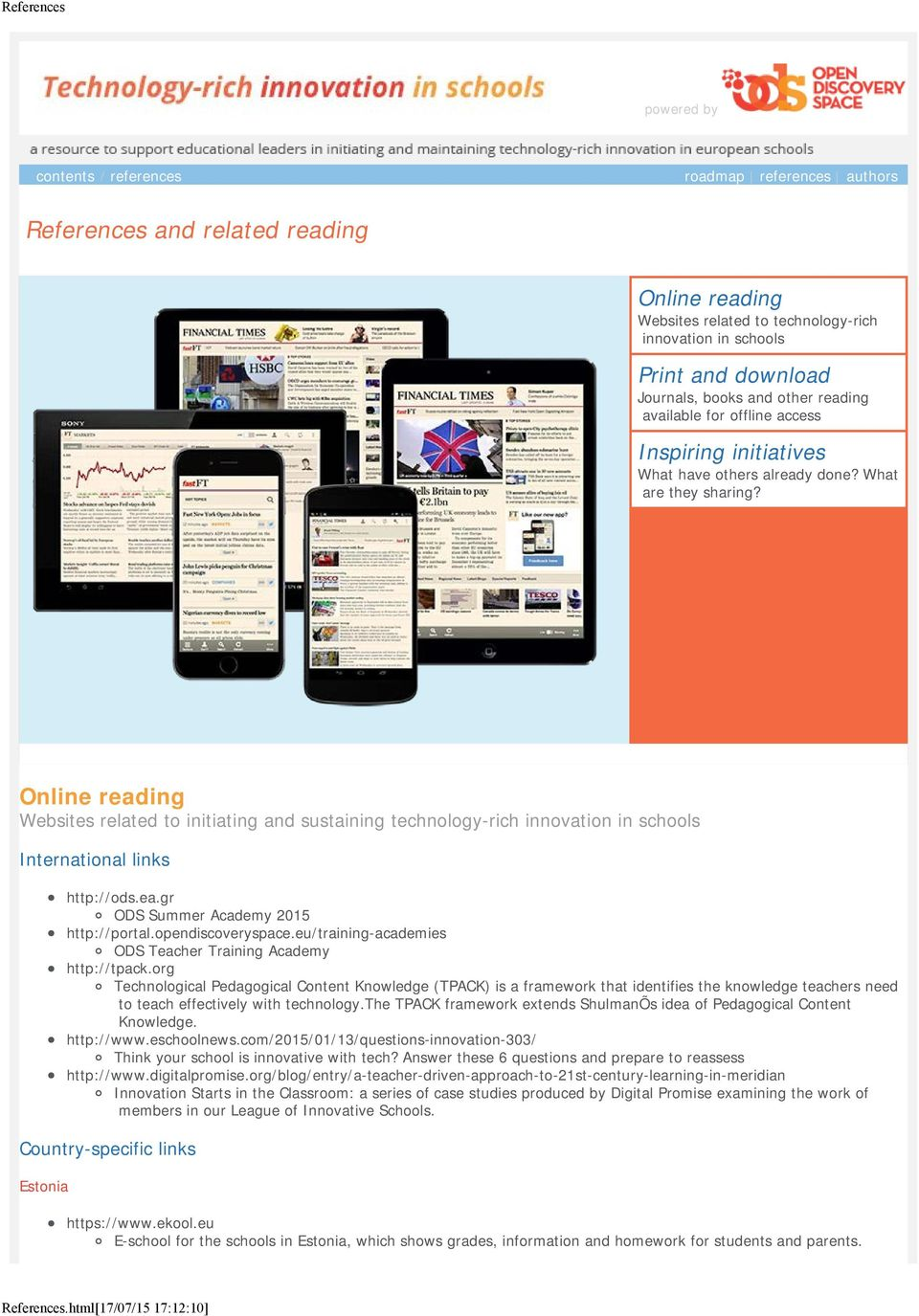 other reading available for offline access Inspiring initiatives What have others already done? What are they sharing?
