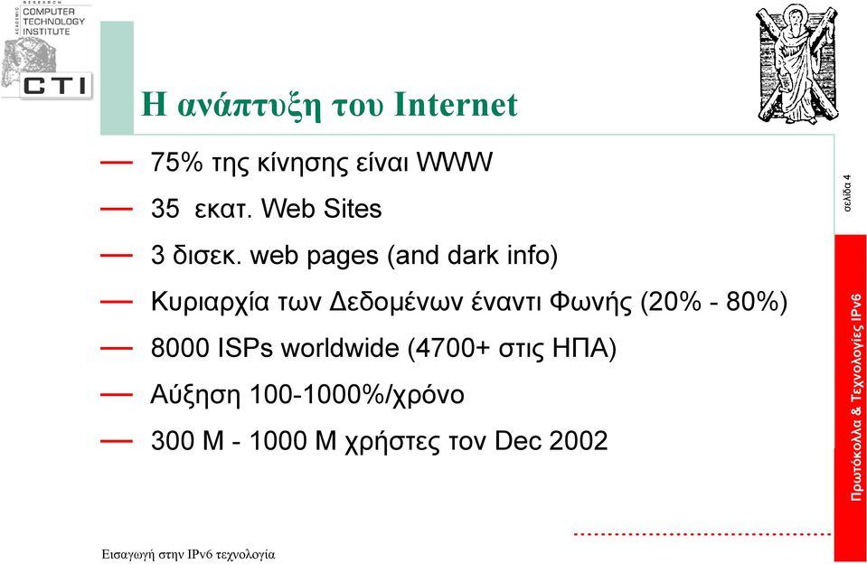 web pages (and dark info) Κυριαρχία των εδοµένων έναντι Φωνής