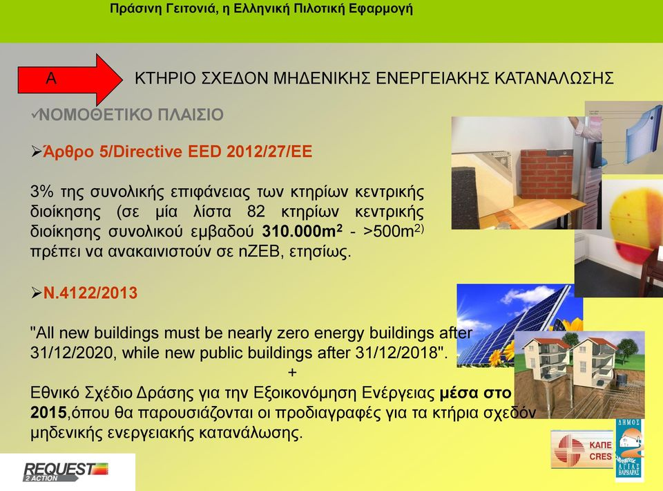 "N.4122/2013 ""All new buildings must be nearly zero energy buildings after 31/12/2020, while new public buildings after 31/12/2018""."