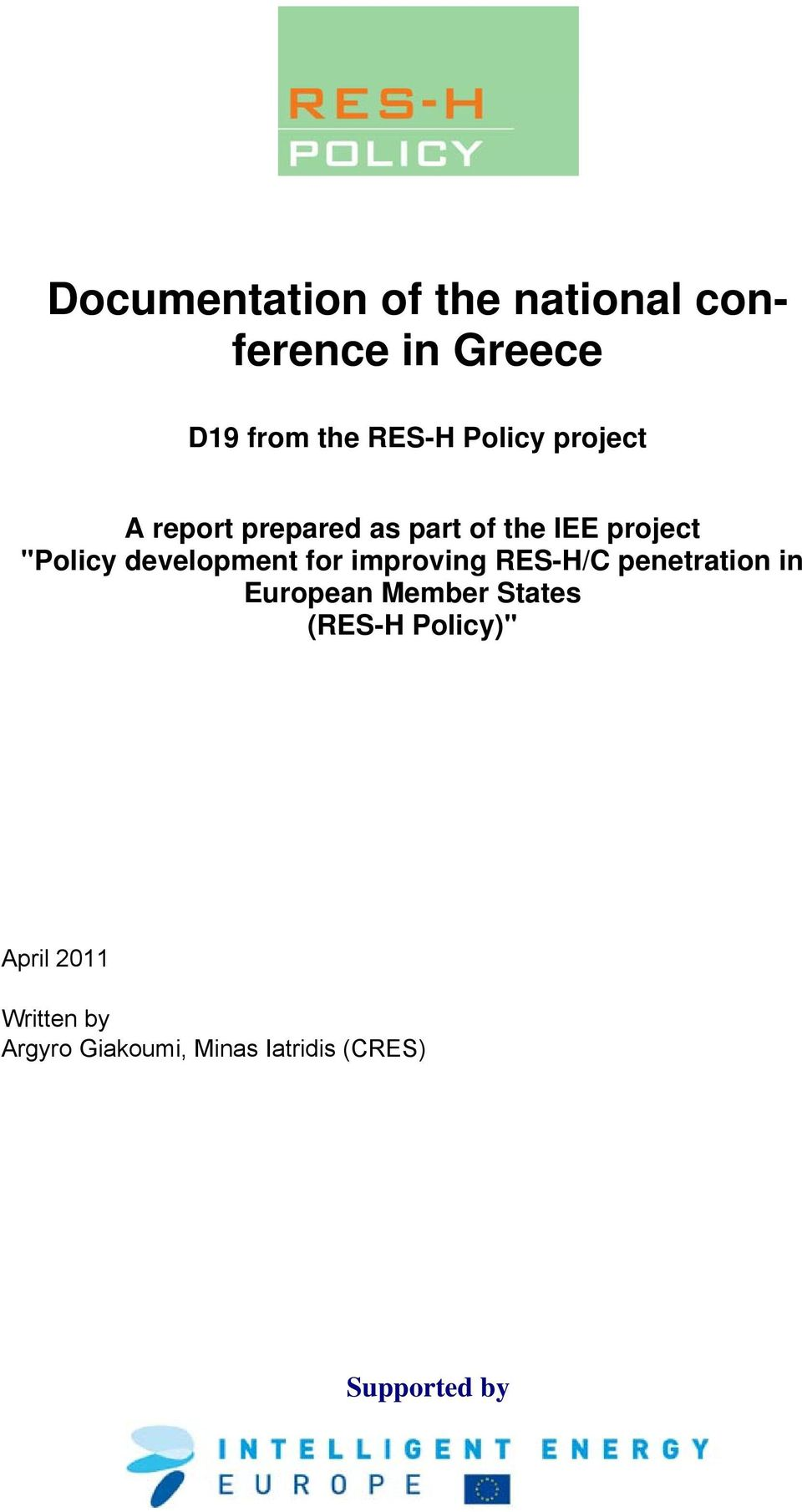 development for improving RES-H/C penetration in European Member States