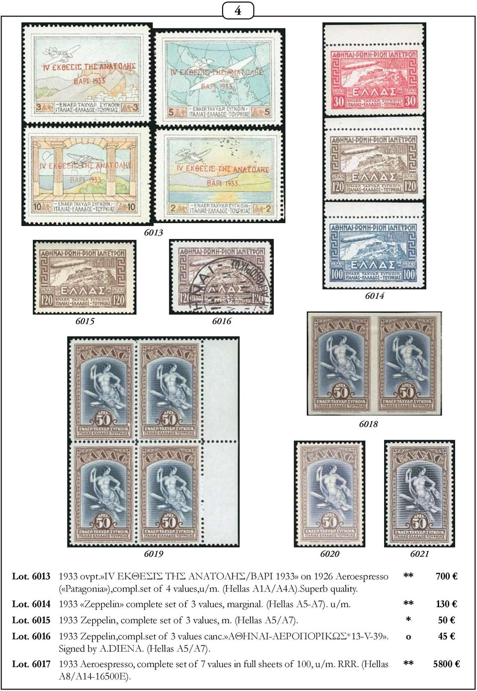 6015 1933 Zeppelin, complete set of 3 values, m. (Hellas A5/A7). * 50 Lot. 6016 1933 Zeppelin,compl.set of 3 values canc.»αθηναι-αεροπορικωσ*13-v-39».