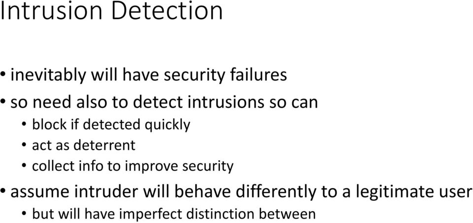 deterrent collect info to improve security assume intruder will