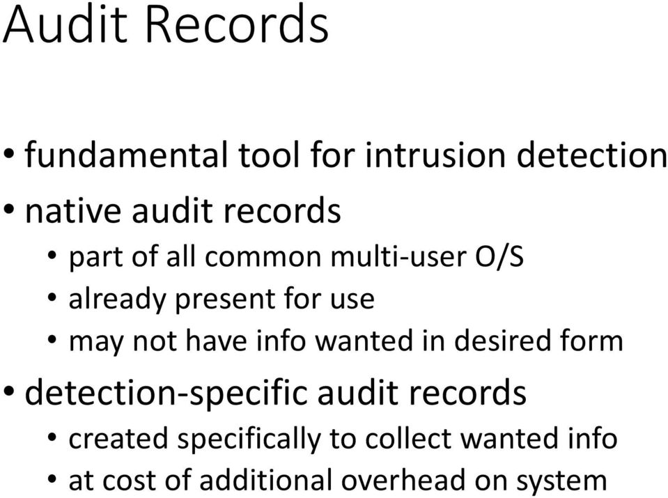 not have info wanted in desired form detection-specific audit records