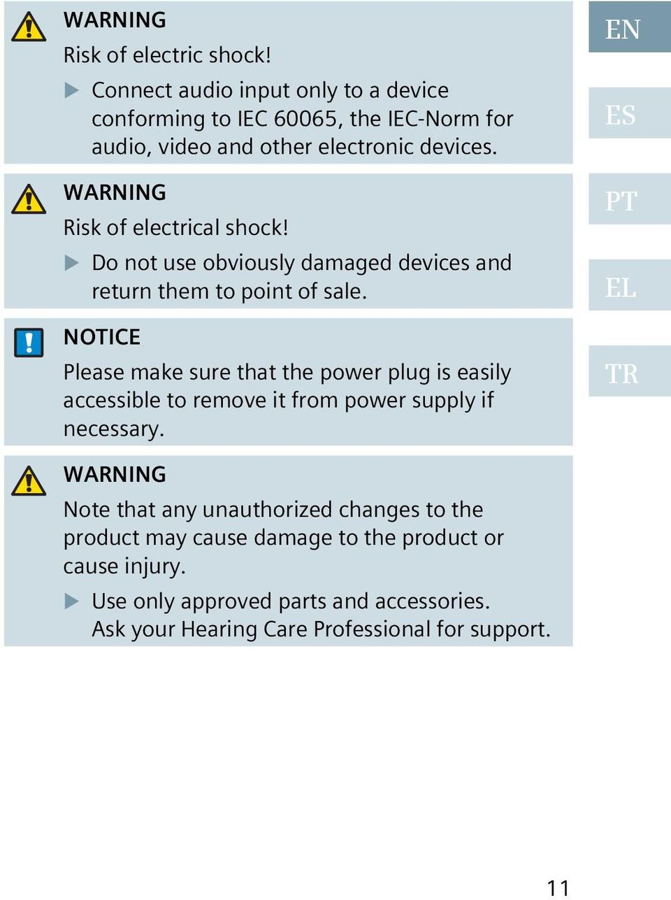WARNING Risk of electrical shock! Do not use obviously damaged devices and return them to point of sale.
