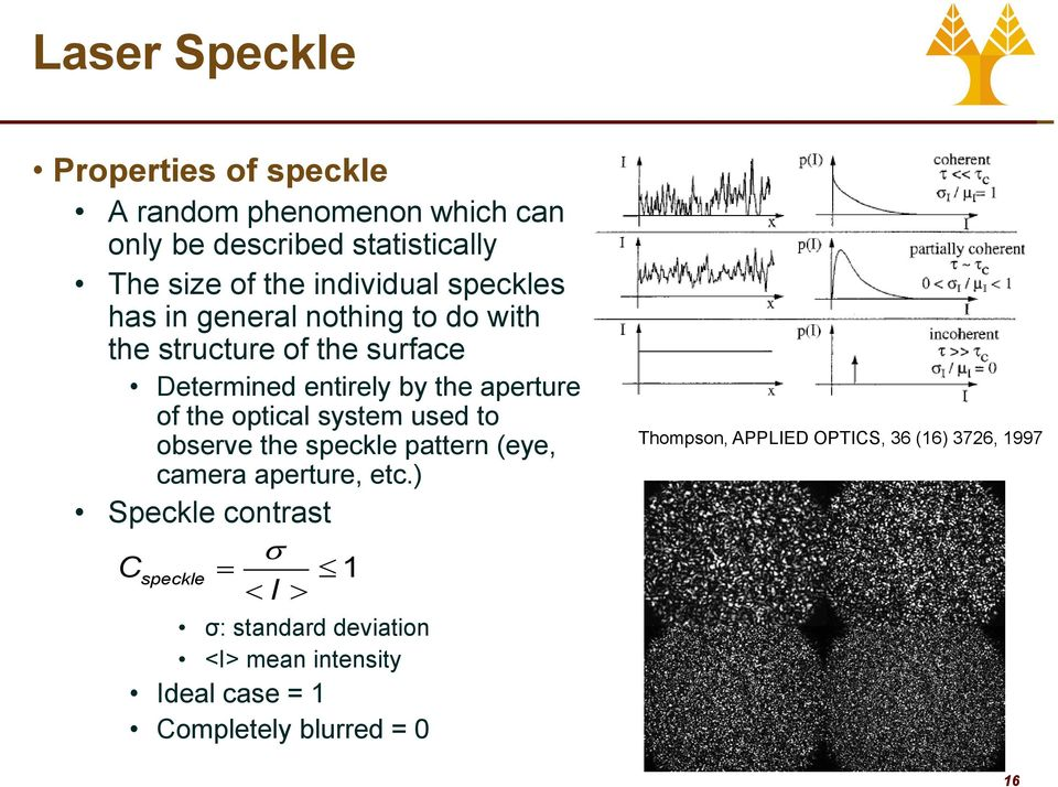 of the optical system used to observe the speckle pattern (eye, camera aperture, etc.