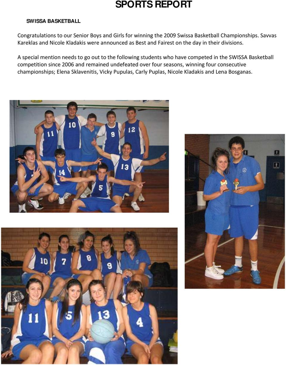 A special mention needs to go out to the following students who have competed in the SWISSA Basketball competition since 2006 and