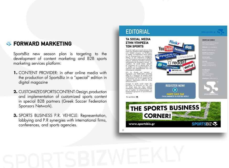 CUSTOMIZED SPORTS CONTENT: Design, production and implementation of customized sports content in special B2B partners (Greek Soccer