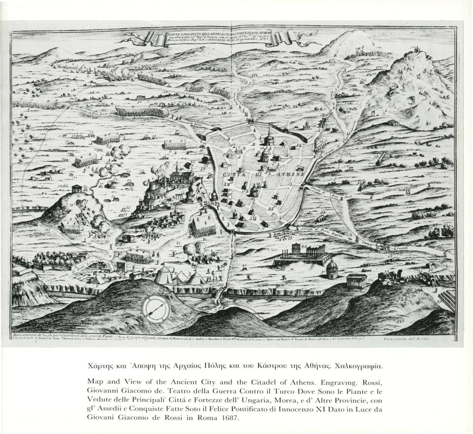 Map and View of the Ancient City and the Citadel of Athens. Engraving. Rossi, Giovanni Giacomo de.
