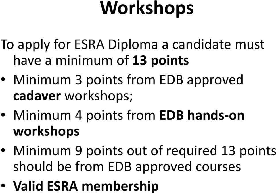 Minimum 4 points from EDB hands-on workshops Minimum 9 points out of