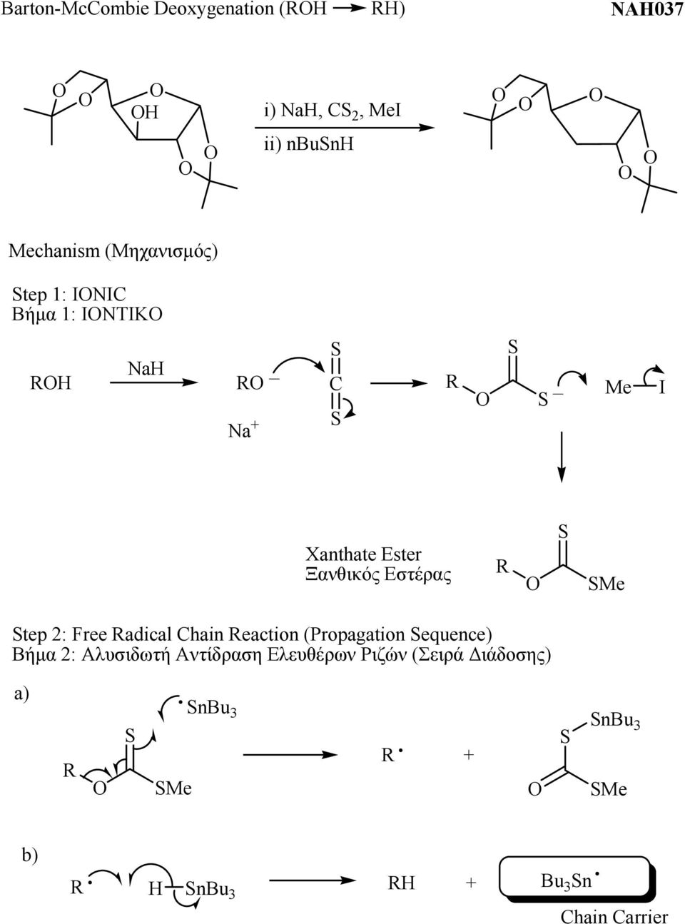SMe Step 2: Free Radical Chain Reaction (Propagation Sequence) Βήμα 2: Αλυσιδωτή Αντίδραση