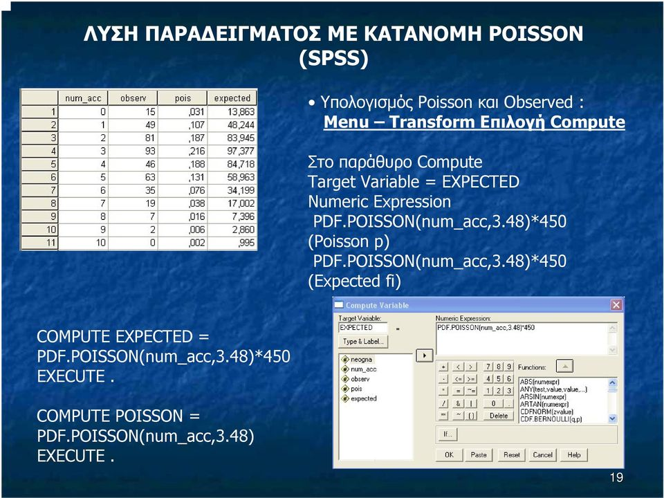 PDF.POISSON(num_acc,3.48)*450 (Poisson p) PDF.POISSON(num_acc,3.48)*450 (Expected fi) COMPUTE EXPECTED = PDF.