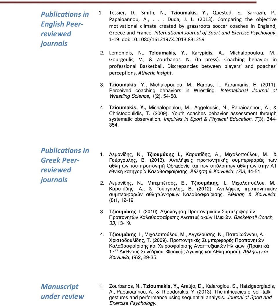 2013.831259 2. Lemonidis, N., Tzioumakis, Y., Karypidis, A., Michalopoulou, M., Gourgoulis, V., & Zourbanos, N. (In press). Coaching behavior in professional Basketball.